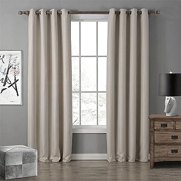 Gwell 1 Pièce Rideaux Couleur Pure Beige Oxford Tissu pour Fenêtre ...