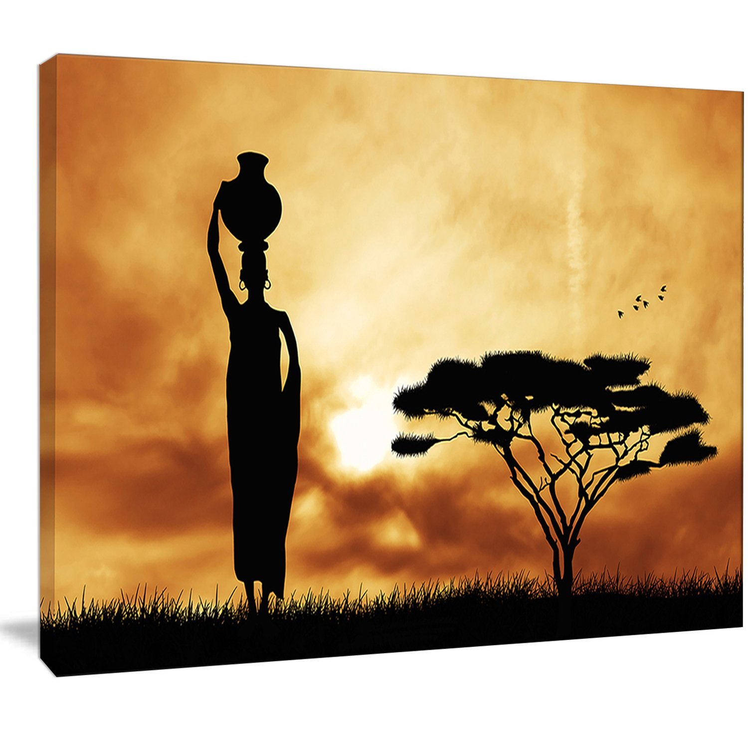 Amazon.com: Design Art PT12979-20-12 African Woman & Lonely Tree ...