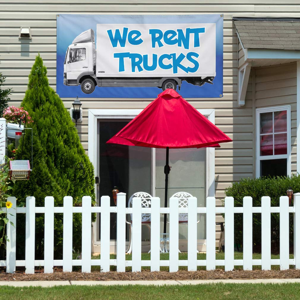 Multiple Sizes Available Vinyl Banner Sign We Rent Trucks #1 Style E Business Outdoor Marketing Advertising White Set of 2 32inx80in 6 Grommets
