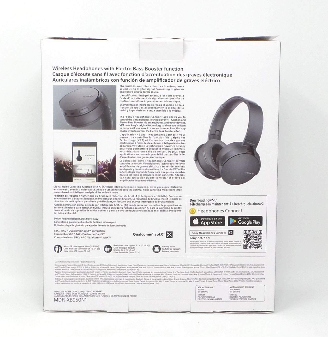 Amazon.com: Sony Extra Bass Wireless Headphones Bluetooth Noise Canceling MDR XB950N1 Gray: Electronics