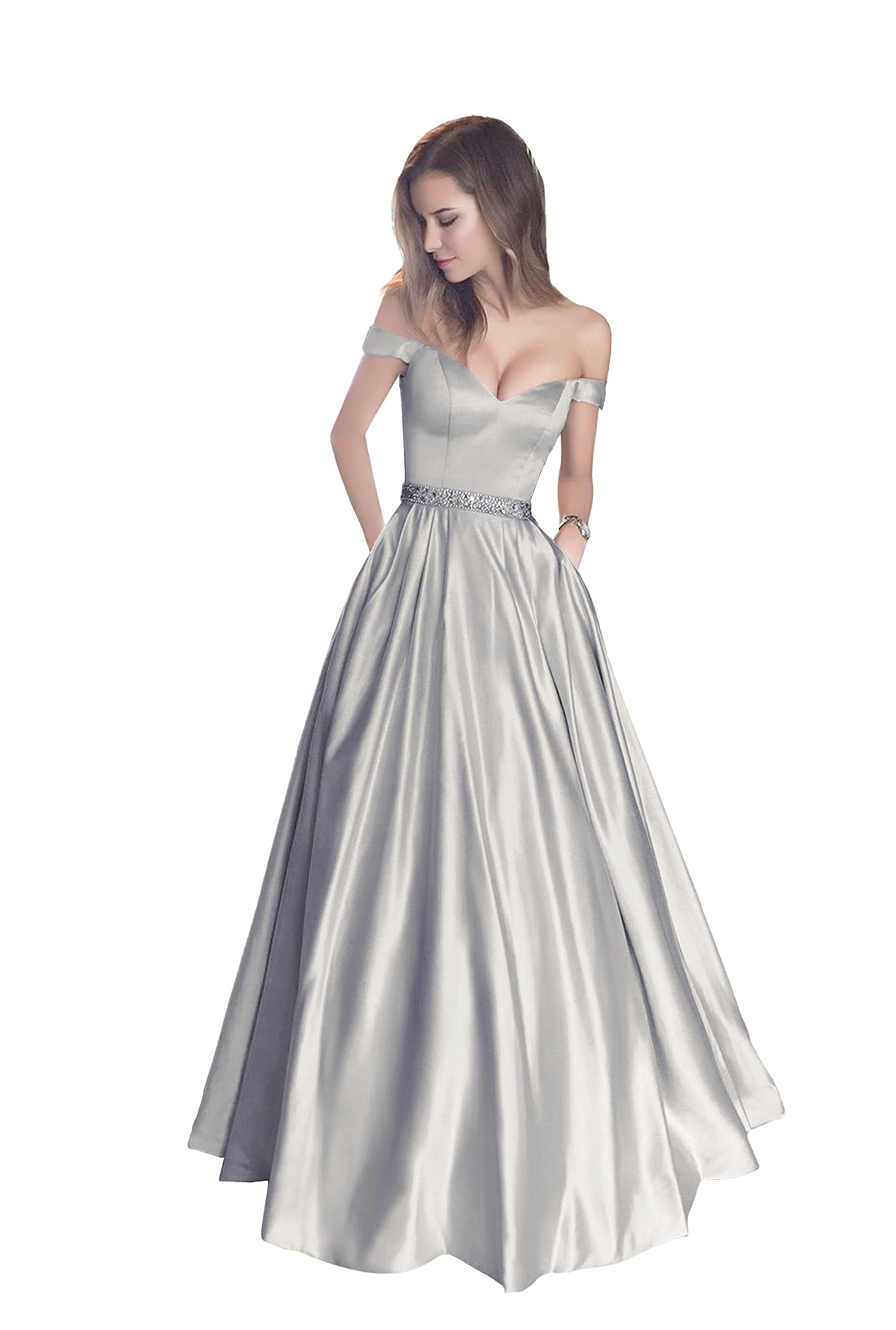 Harsuccting Off The Shoulder Beaded Satin Evening Prom Dress with Pocket Grey 4