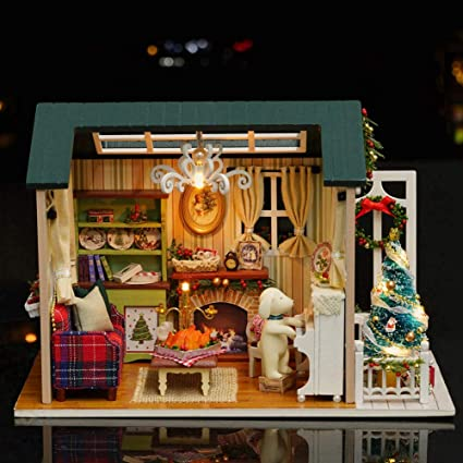 Doll Miniature Wooden House Studio Kit LED Light Furniture DIY Handcraft Toys
