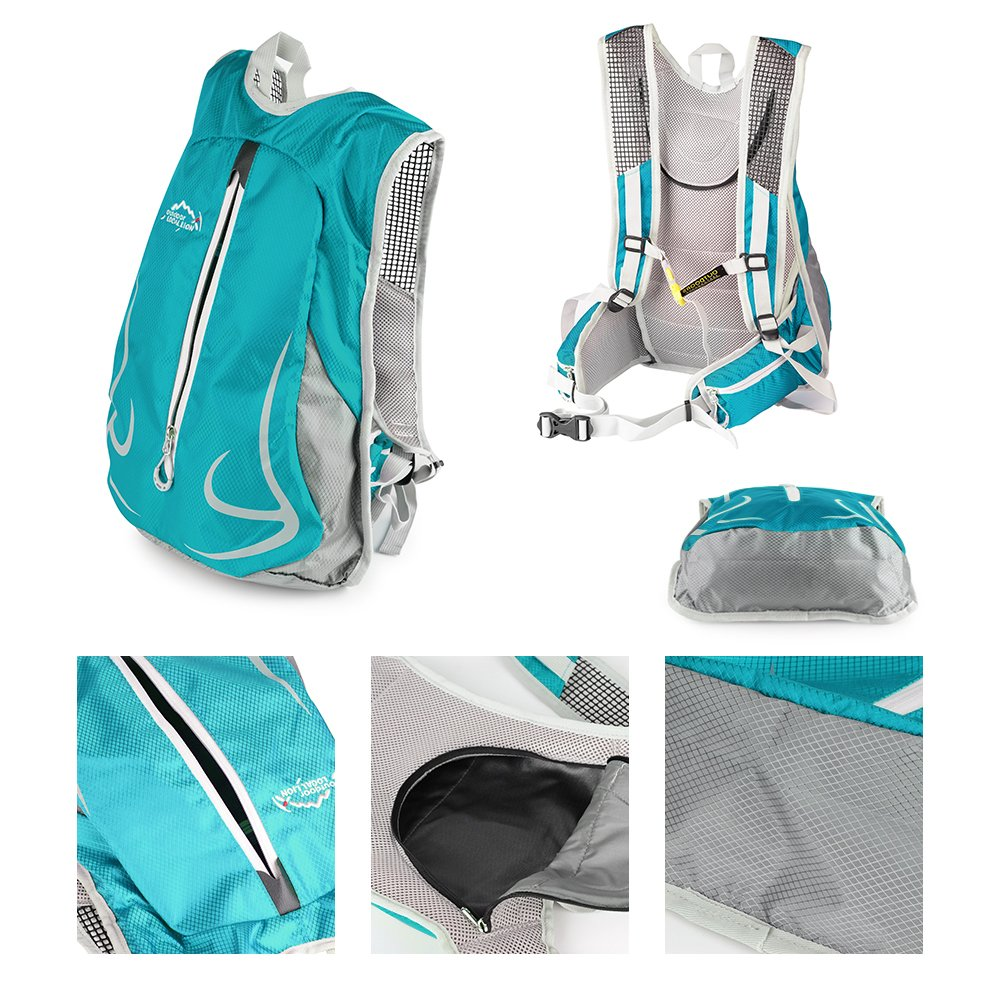 14 L Waterproof Cycling Rucksack and Breathable Hiking Backpack Outdoor Sports Shoulder Backpack for Running Mountaineering Climbing Camping Traveling Trekking SPFAS Bike Backpack Lightweight