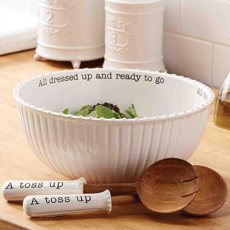 Amazon.com Mud Pie 4601029 Salad Bowl (Set of 3 pieces) White Kitchen u0026 Dining & Amazon.com: Mud Pie 4601029 Salad Bowl (Set of 3 pieces) White ...