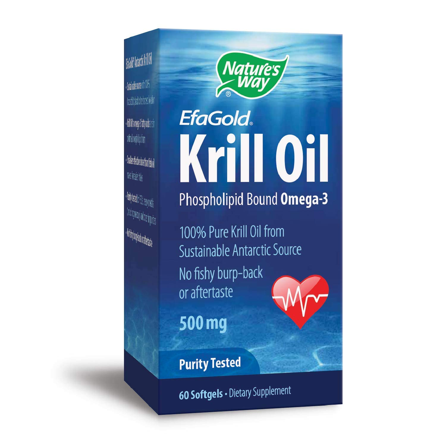 Nature's Way EfaGold Krill Oil Omega-3 100% Pure Krill Oil, No fishy burp-back, 500 mg, 60 Count by Nature's Way