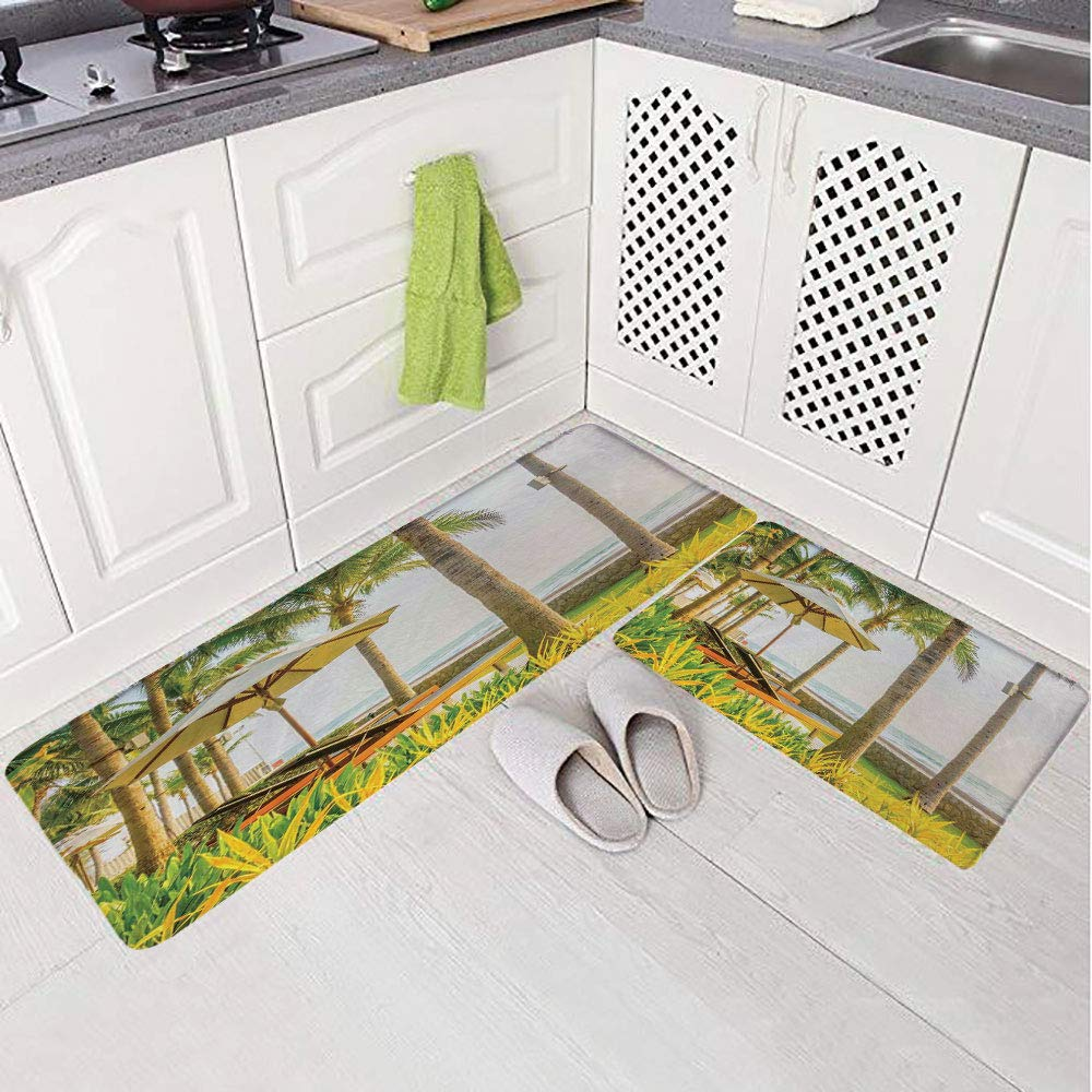 2 Piece Non-Slip Kitchen Mat Rug Set Doormat 3D Print,Chairs Around Swimming Pool in Hotel Resort Image,Bedroom Living Room Coffee Table Household Skin Care Carpet Window Mat,