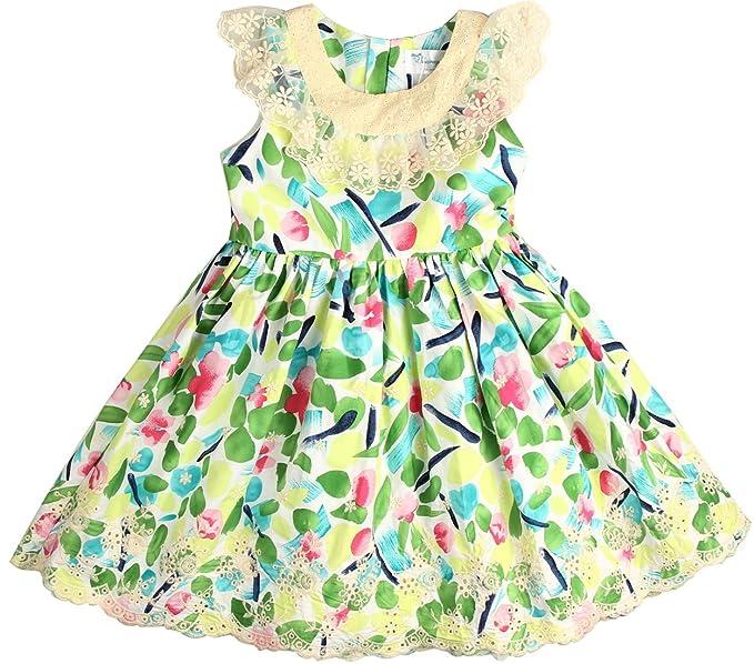 342f240e4831 Sharequeen Girls Dress Summer Green Flower Lace Embroidery Ruffle Design  Child Dress 2-9T (