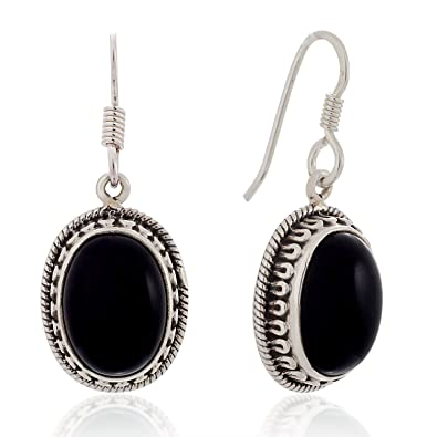 d35a75061 Amazon.com: 925 Sterling Silver Black Onyx Gemstone Oval Rope Edge Vintage  Dangle Hook Earrings 1.4