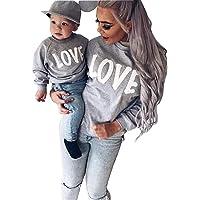 Minetom Maman Et Bébé Enfants Imprimé Col Rond Manches Longues Sweat-shirt Tops Mignon Fille Garçon Pullover Vêtements De Famille