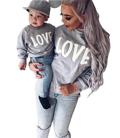 2720bdd075f1 Minetom Ropa Familiar Mamá Niño Niña Manga Larga Letra Impresa Camisa De  Entrenamiento Pullover Casual Sudaderas