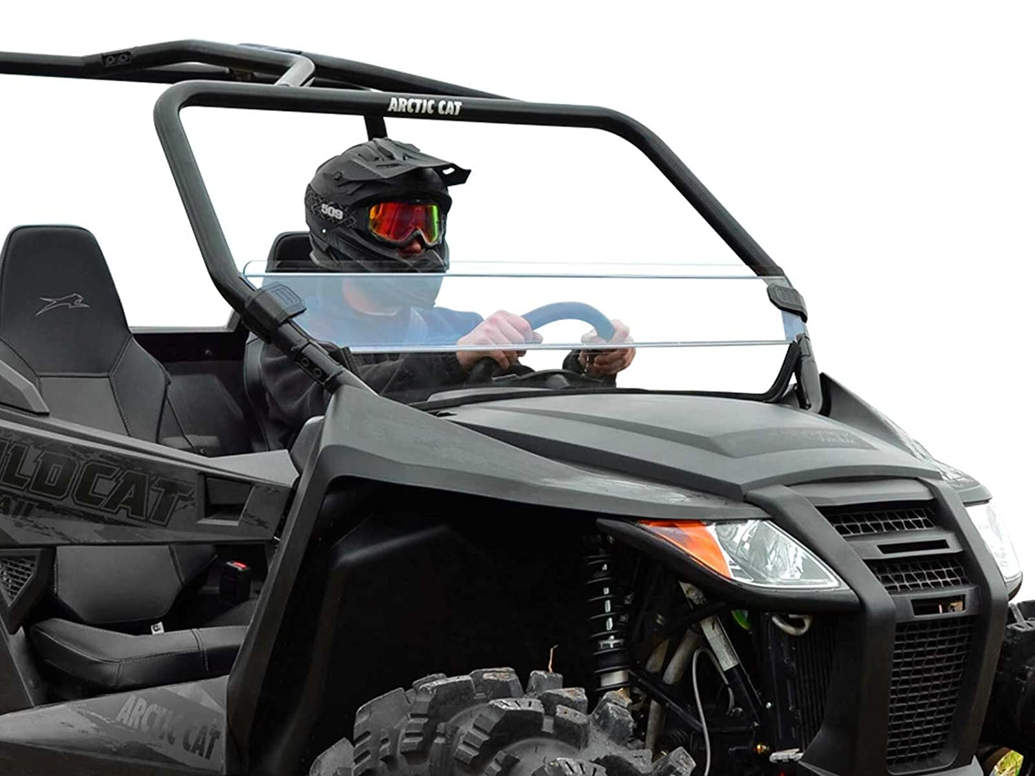 SuperATV Heavy Duty Dark Tint Standard Half Windshield for Arctic Cat Wildcat Trail Quick and Easy to Install! 2014+