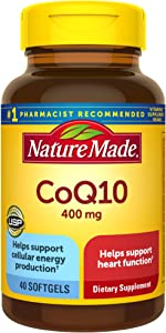 Nature Made CoQ10 400 mg Softgels, 40 Count for Heart Health† (Packaging May Vary)