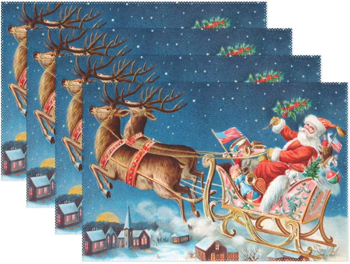 Wamika Dining Kitchen Decor Winter Elk Table Mat Placemat, Merry Christmas Santa Deer Houses Table Mats Placemats 12x18x6 in for Indoor Home House Kitchen Set of 6