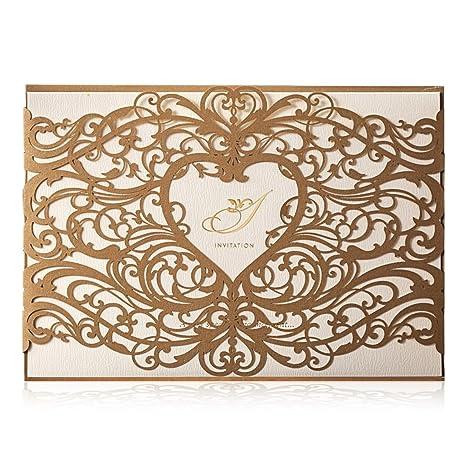 Wishmade Elegante Dorado Láser Corte Invitaciones De Boda Tarjetas Con Corazón Hueco Floral Invitación Cartulina Para El Compromiso Nupcial Ducha Bebé ...