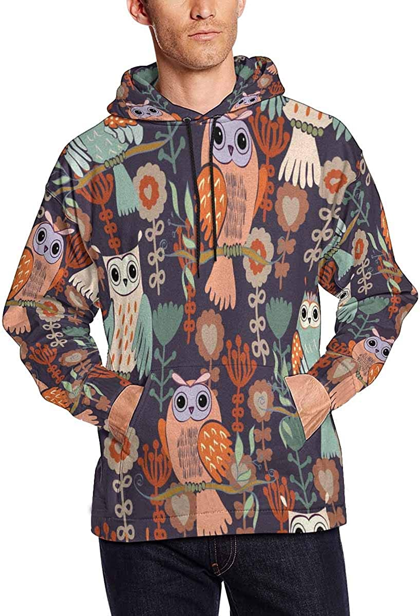 INTERESTPRINT Mens Human Skulls with Flowers Hooded Sweatshirts