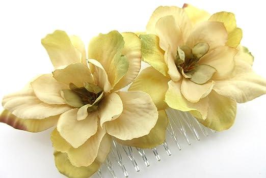 Amazon double beige apple blossom silk flower hair comb clothing double beige apple blossom silk flower hair comb mightylinksfo