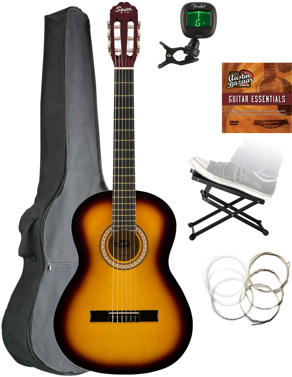 Squier by Fender SA-150 Dreadnought Acoustic Guitar - Gloss Black Finish (Amazon Exclusive) 961090006