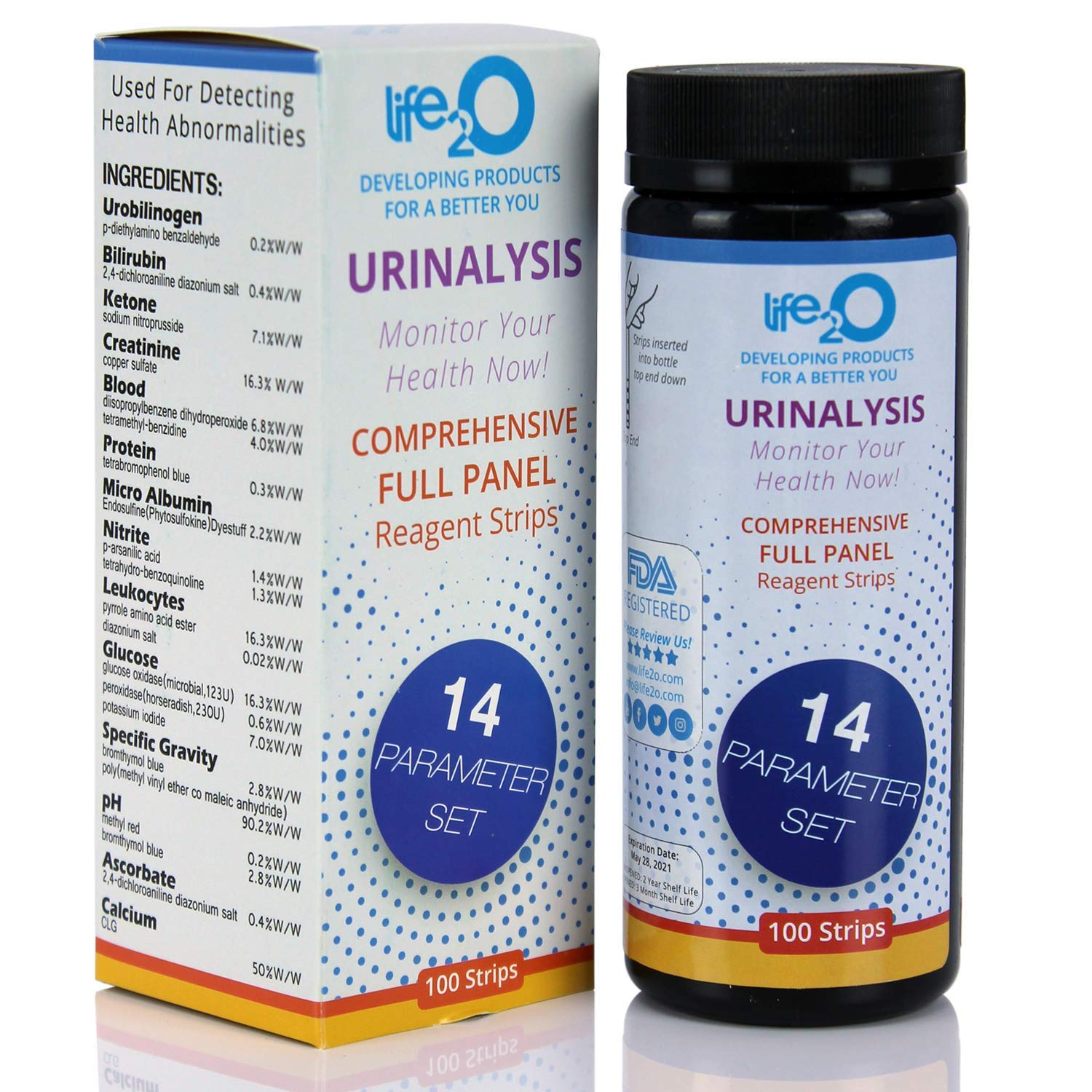 Comprehensive 14-in-1 Urine Test Strips 100ct | Urinalysis Dip-Stick Testing Kit | Ketone, pH, Blood, UTI, Protein | Keto Alkaline Diet, Ketosis, Kidney Infection & Liver Function | Free e-Book Inside by life2O