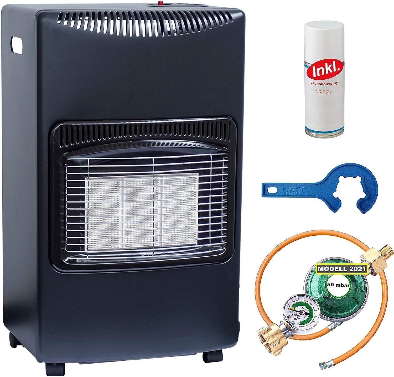Estufa de gas con calefactor por infrarrojos, 4,2 kW, para bombonas de gas propano y gas propano, incluye tubo regulador de gas