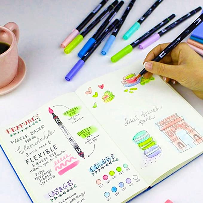 Amazon.com: Tilly Bee DOT Journal KIT, Tombow Bright Dual Brush Pen Set Bundled with Matilda & Me Bullet Journal