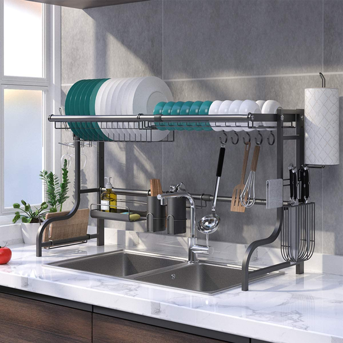 BENOSS Expandable Dish Drying Rack Stand Over Sink, Adjustable Dish Dryer for Kitchen, Multi-function Storage Organizer Shelf with Knife Holder, Cutlery Holder and Drainboard (Black with cup holder)