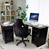 Upscale Decor L Shaped Corner Computer Gaming Desk With Drawers Storage Modern Wood Study Workstation Table for Small Space Home Office, Dark Brown