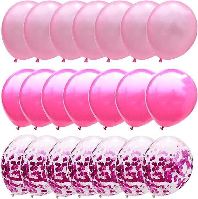 Confetti Balloons Hot Pink Metallic Dark Pink Balloons For Girls Birthday Fushia Bridal Baby Shower Party Decorations 12inch 50packs Home Kitchen Amazon Com