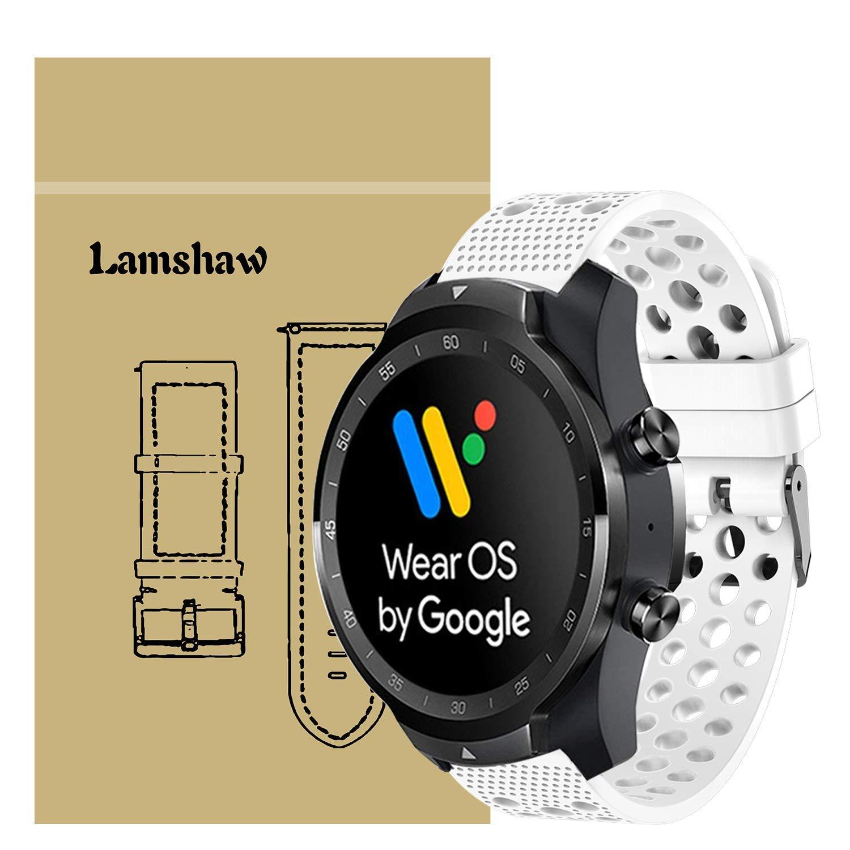 Ceston Clásico Deporte Silicona Correas para Smartwatch TicWatch Pro (Blanco)