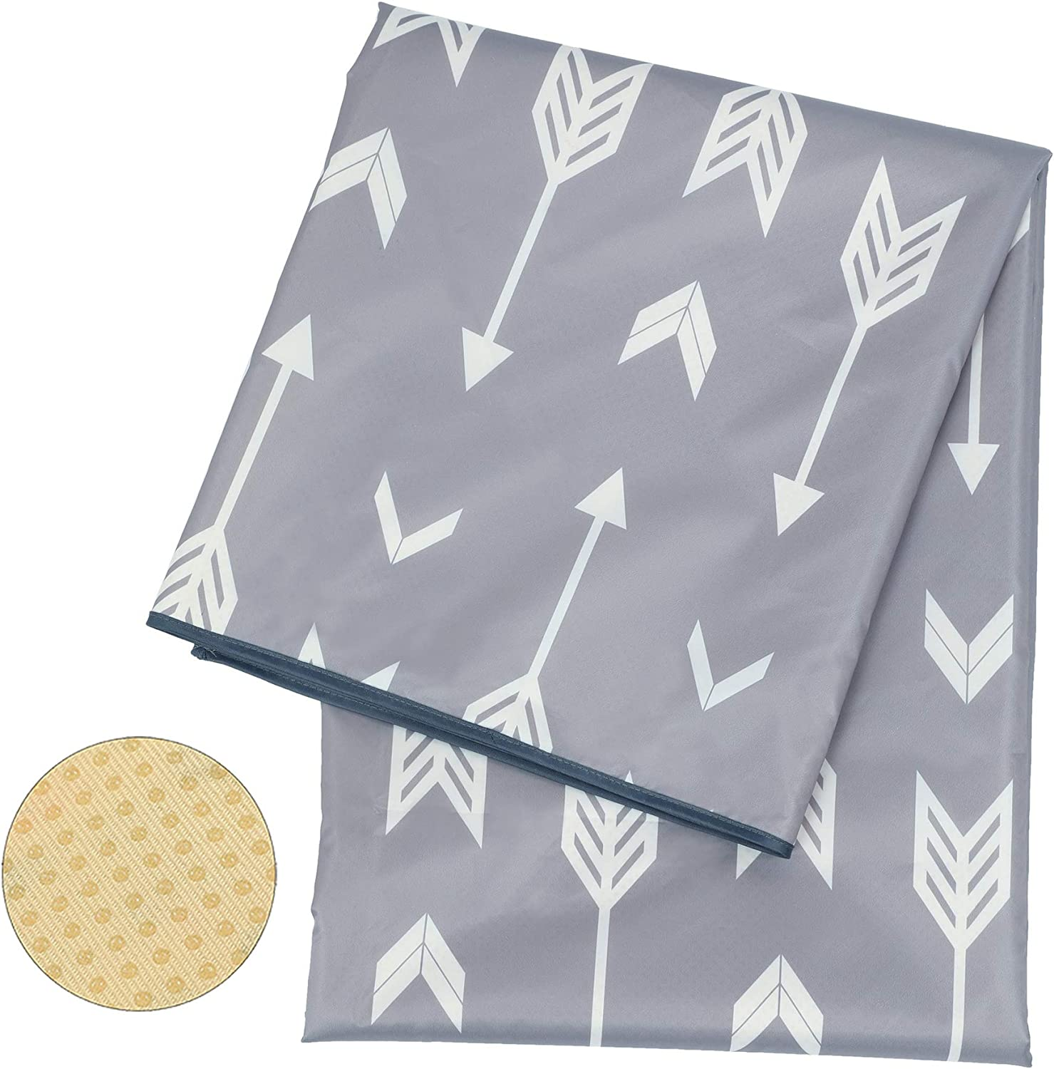 """Baby Splat Mat for Under High Chair/Arts/Crafts, Washable Spill Mat Water-Resistant Anti-Slip Floor Splash Mat, Portable Play Mat and Table Cloth 51"""" (Grey)"""