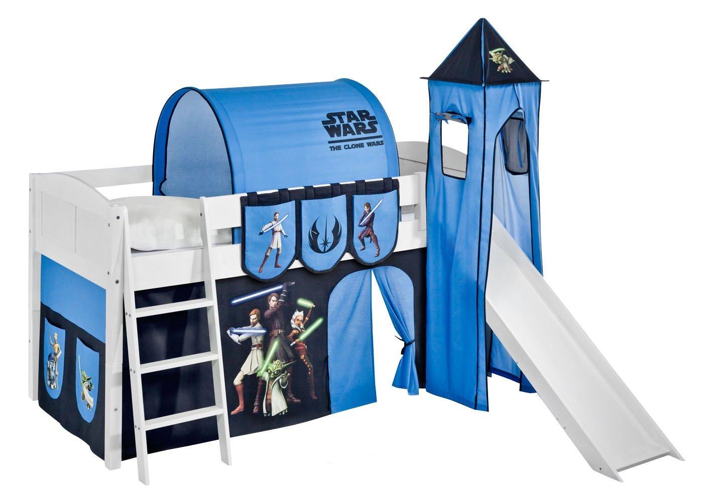 Lilokids Set Angebot - Spielbett IDA 4106 Star Wars The Clone Wars mit Rutsche - Teilbares Systemhochbett Weiß - mit Vorhang, Turm, Tunnel und Taschen