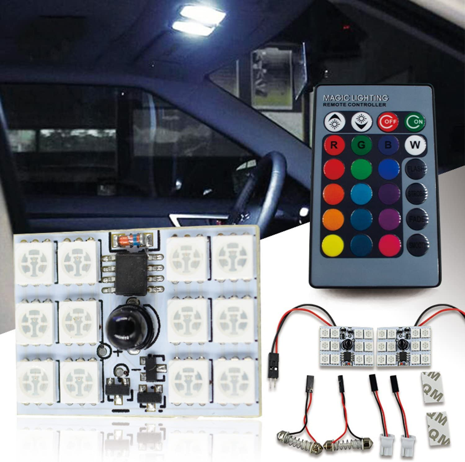 6SMD 39MM RGB LED Car Ceiling Roof Dome Reading Light Lamp Bulb Remote Control