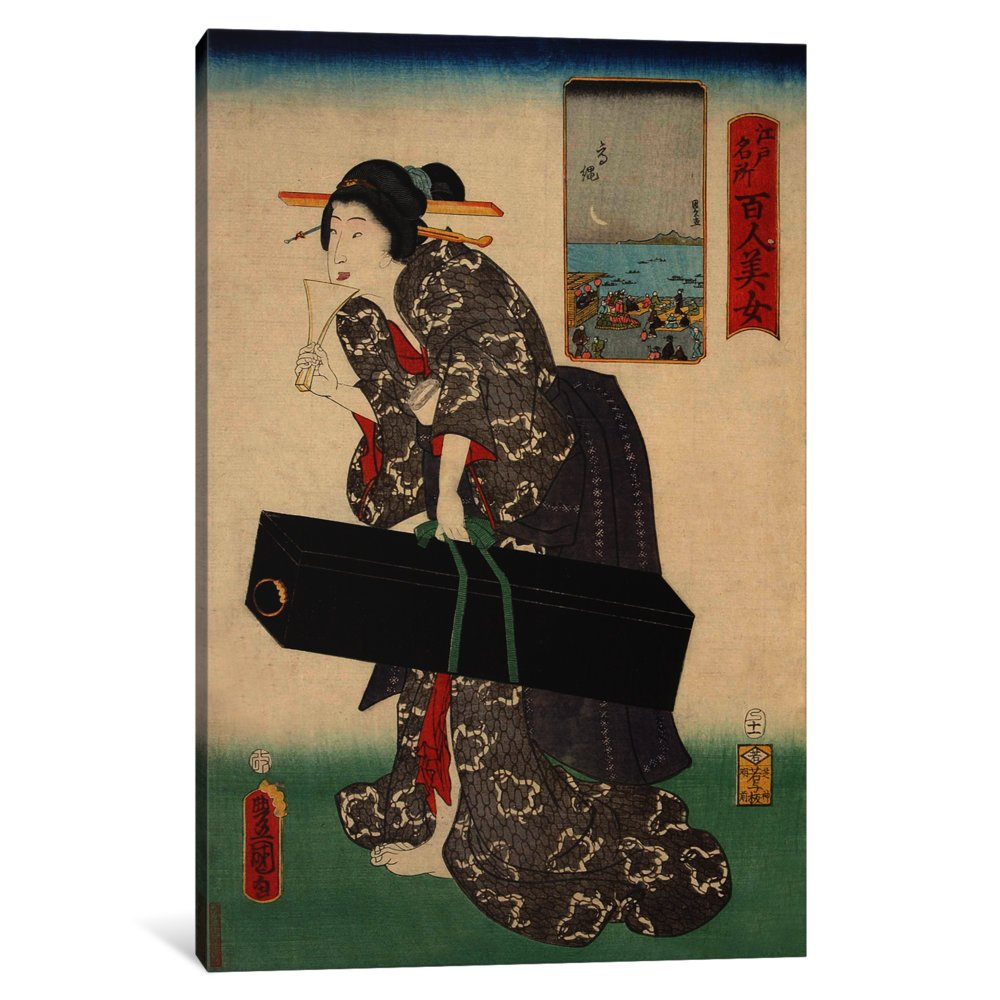 iCanvasART 3-Piece Takanawa Japanese Canvas Print by Kunisada Toyokuni 1.5 by 60 by 40-Inch