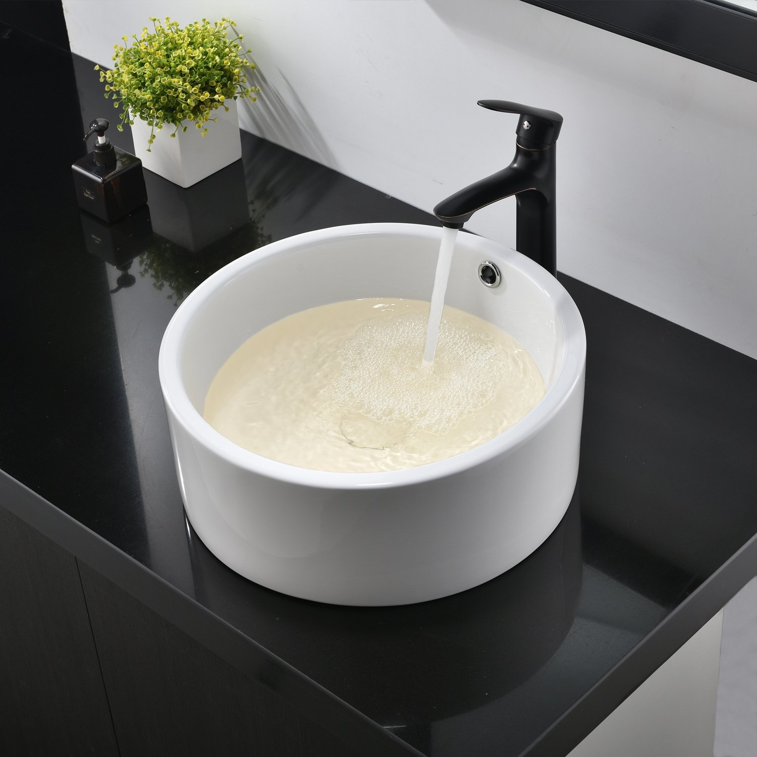 Hotis White Porcelain Ceramic Countertop Bowl Lavatory Round Above Counter Vanity Bathroom Vessel Sink by HOTIS HOME (Image #5)
