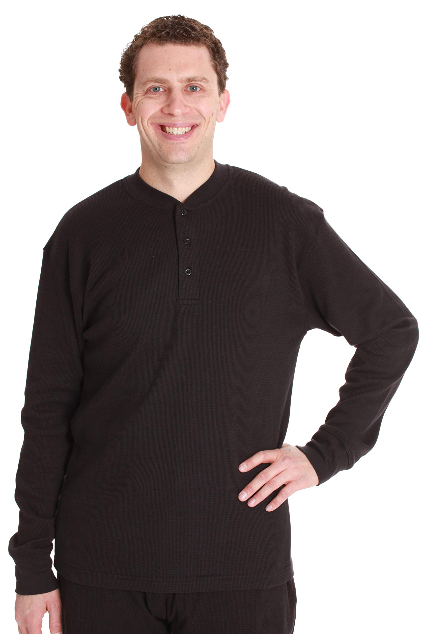 #followme Mens Thermal Henley Tops 55907-BLK-XXXL Black by #followme