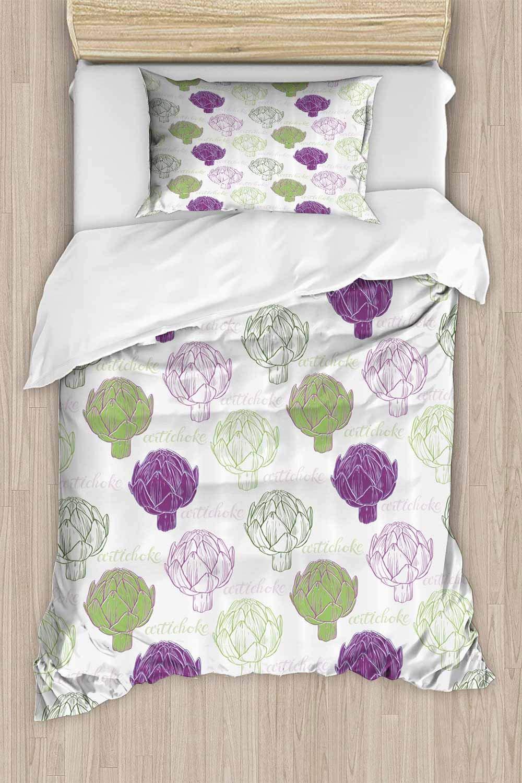 "prunushome Print Comforter Set, Sketch Style Food Reversible Luxury Zipper Closure Soft 2Pcs Lightweight Duvet Cover Set Queen - 90""x90""(NO Comforter NO Sheet)"