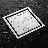 Homelody Siphon de Sol Caniveau de Douche Ecoulement D'eau Clé d'Ouverture Offerte Carré 110x110mm Invisible Evacuateur pour Jardin Cabine de Douche Cuisine