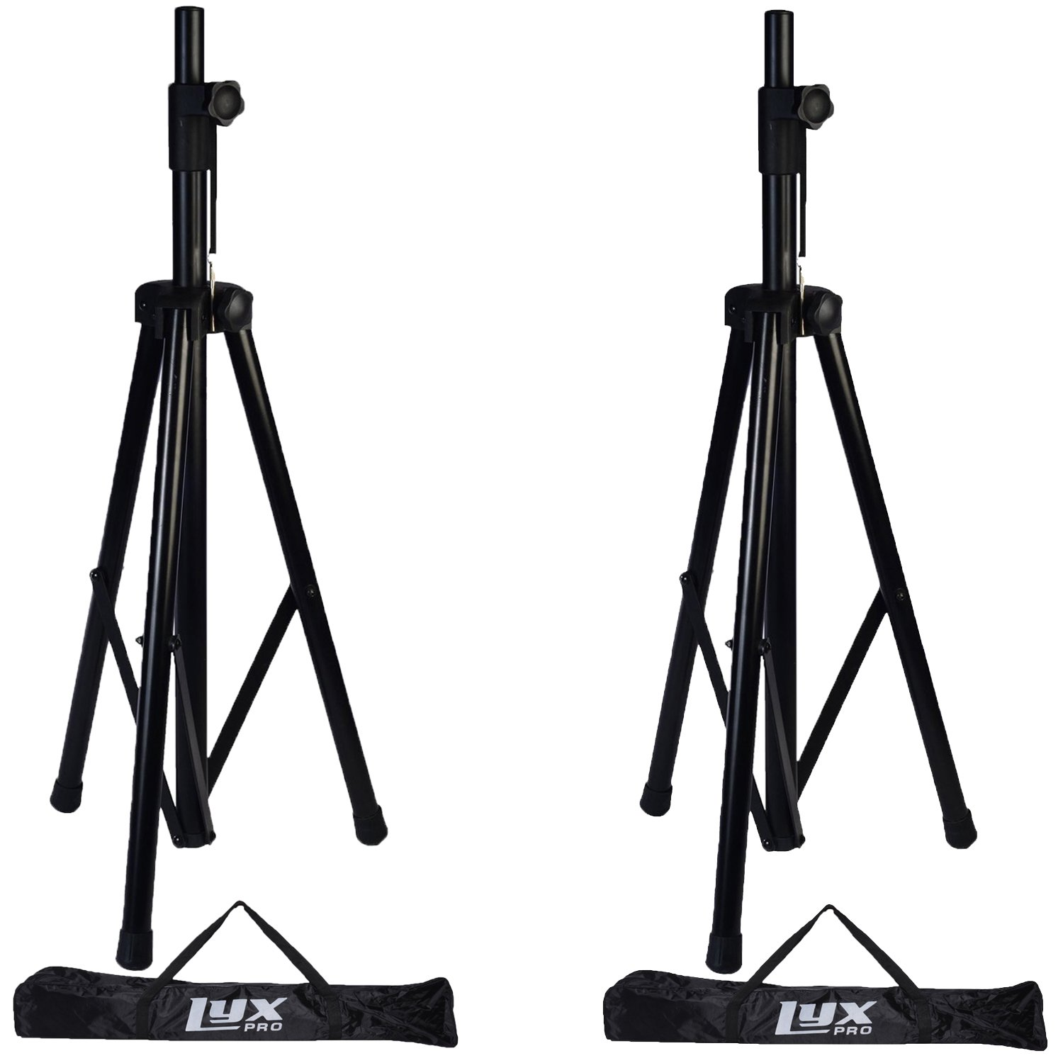 """Pair of LyxPro Speaker Stands with carrying Bags, 6 Feet Adjustable Height, Folding Tripod Design, Non Slip Feet, Locking Knob & Pin, Fits Speakers Holes 1-3/8"""" & 1-1/2"""""""