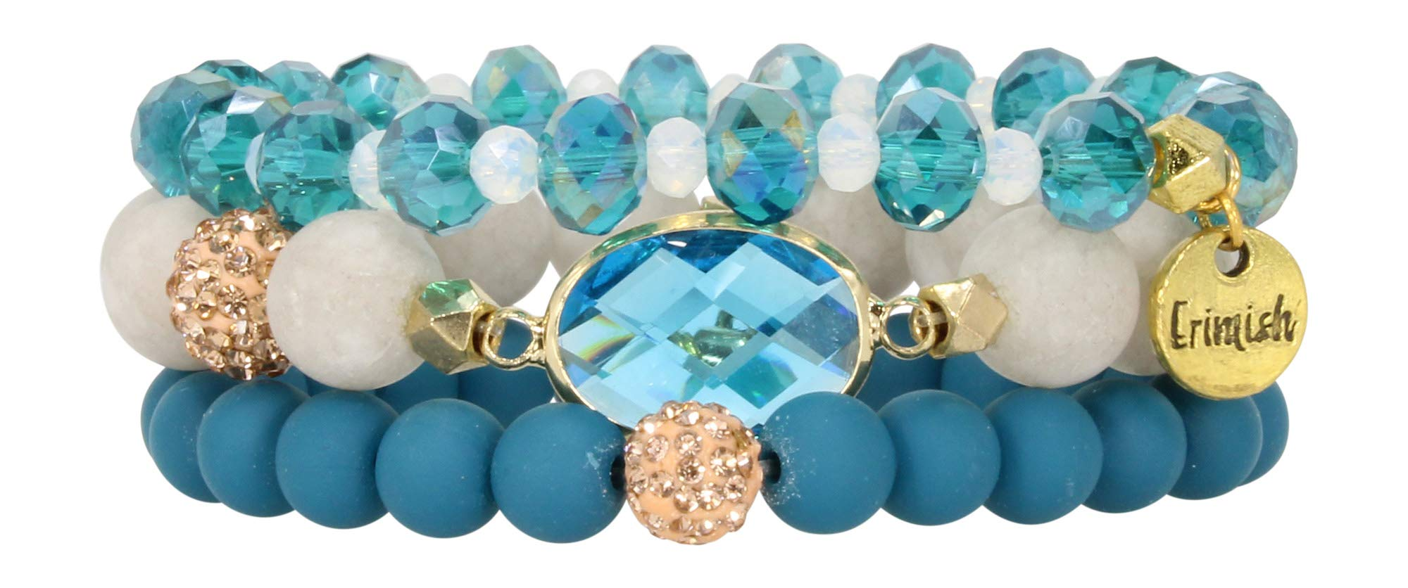 Erimish 3 Piece Bracelet Stack Turquoise One Size by Erimish