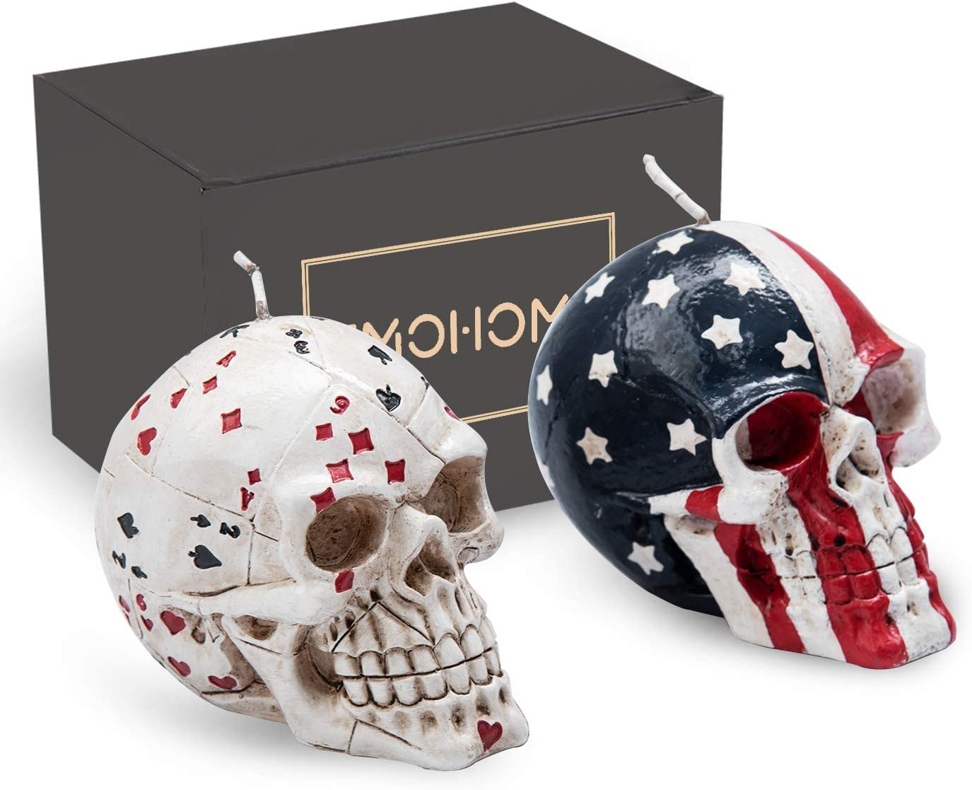 EMOHOME 2PCS American Flag Skull and Poker Skull Statue, Patriot, Decorative Candles for Casino Party Decorations, Halloween, Horror, Home Décor, Birthday Party, Festival, Novelty Gifts