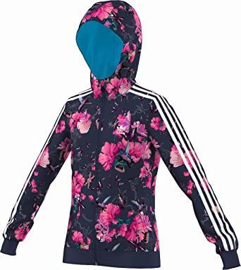 adidas Mädchen Jacke Blau Blau, Blumen, M66027 Girls Td