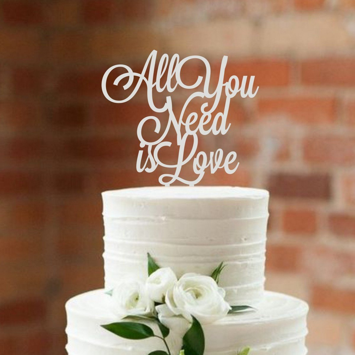 HappyPlywood Wedding Cake Topper All you need is love Cake topper for wedding decorations (silver)