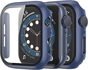Fotbor Compatible with Apple Watch Case Series 6 SE Series 5 Series 4 40mm with Tempered Glass Screen Protector, Hard PC Apple Watch Bumper Full Cover for Apple iWatch Series 6/5/4/SE 40mm [2 Pack]