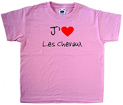 784ae785faa1d Fruit of the Loom - T-Shirt J aime Les Chevaux - enfant - Rose ...