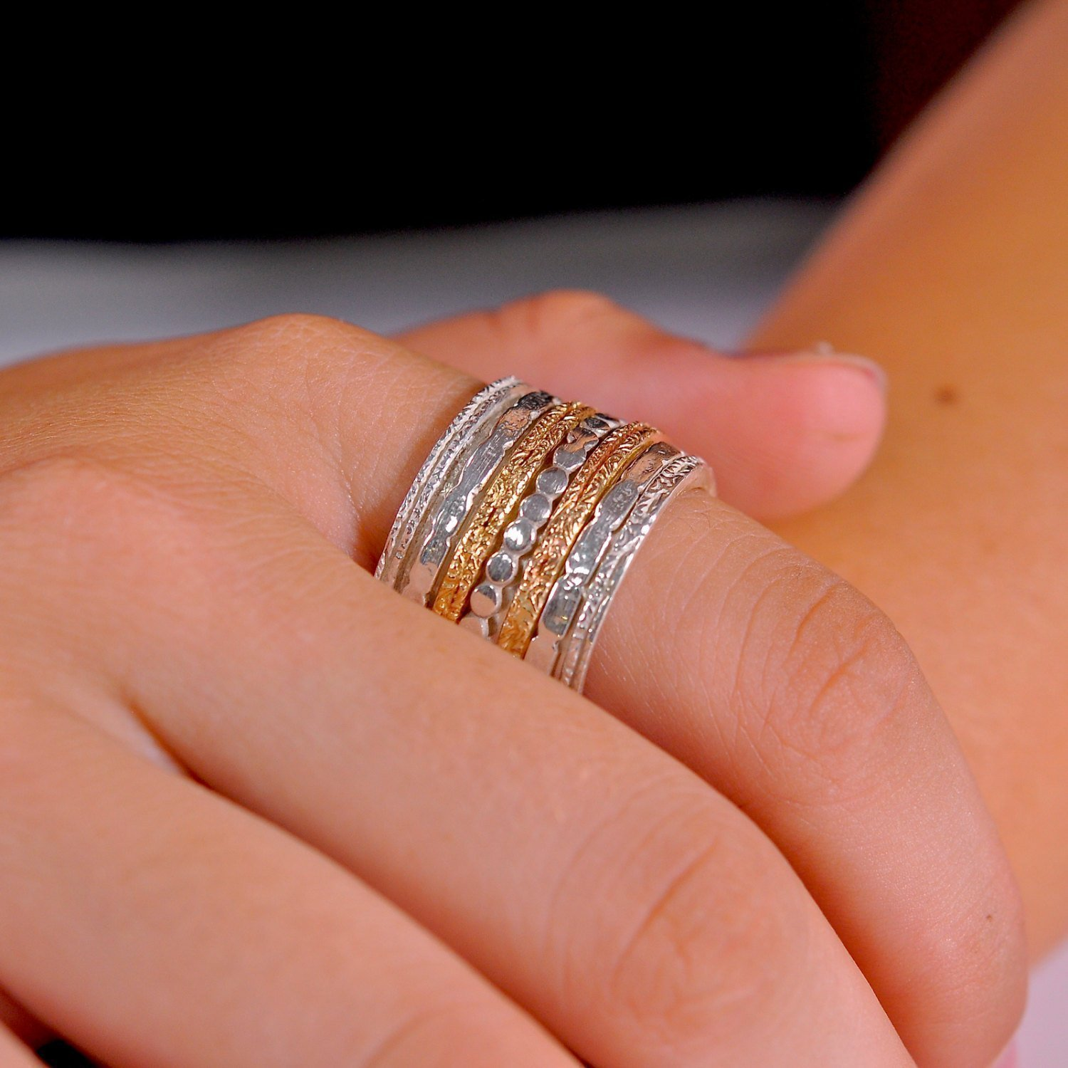 This is an image of Multi spinner wide Worry or Anxiety ring perfect Alternative Silver wedding band