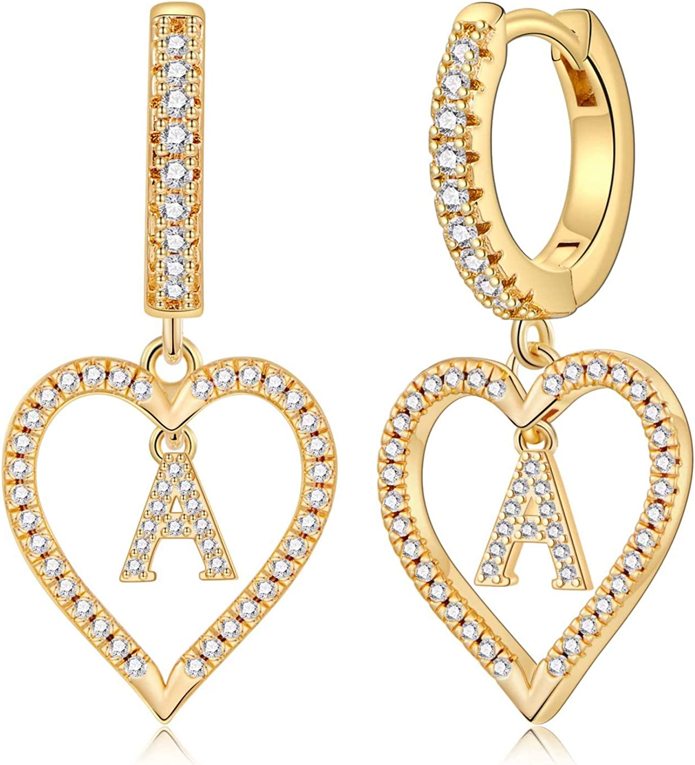 925 Sterling Silver Post Hypoallergenic Small Huggie Hoop Earrings Gold Plated Cubic Zirconia Initial Earrings Jewelry Gifts for Girls Women Initial Earrings for Girls Women