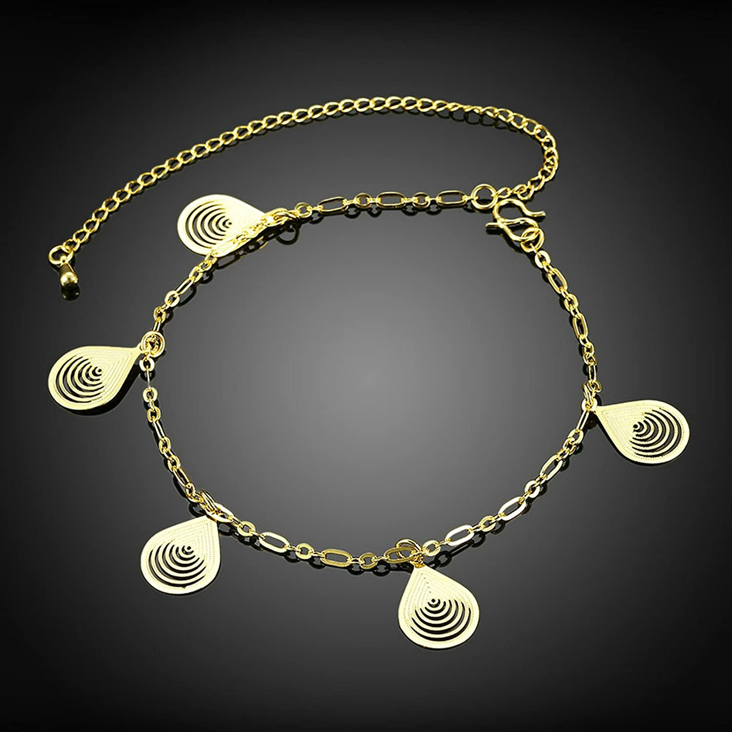 Adisaer Silver//Gold Plated Anklet Bracelet 20+10CM Chain Teardrop Pendant Womens Beach Foot Jewelry