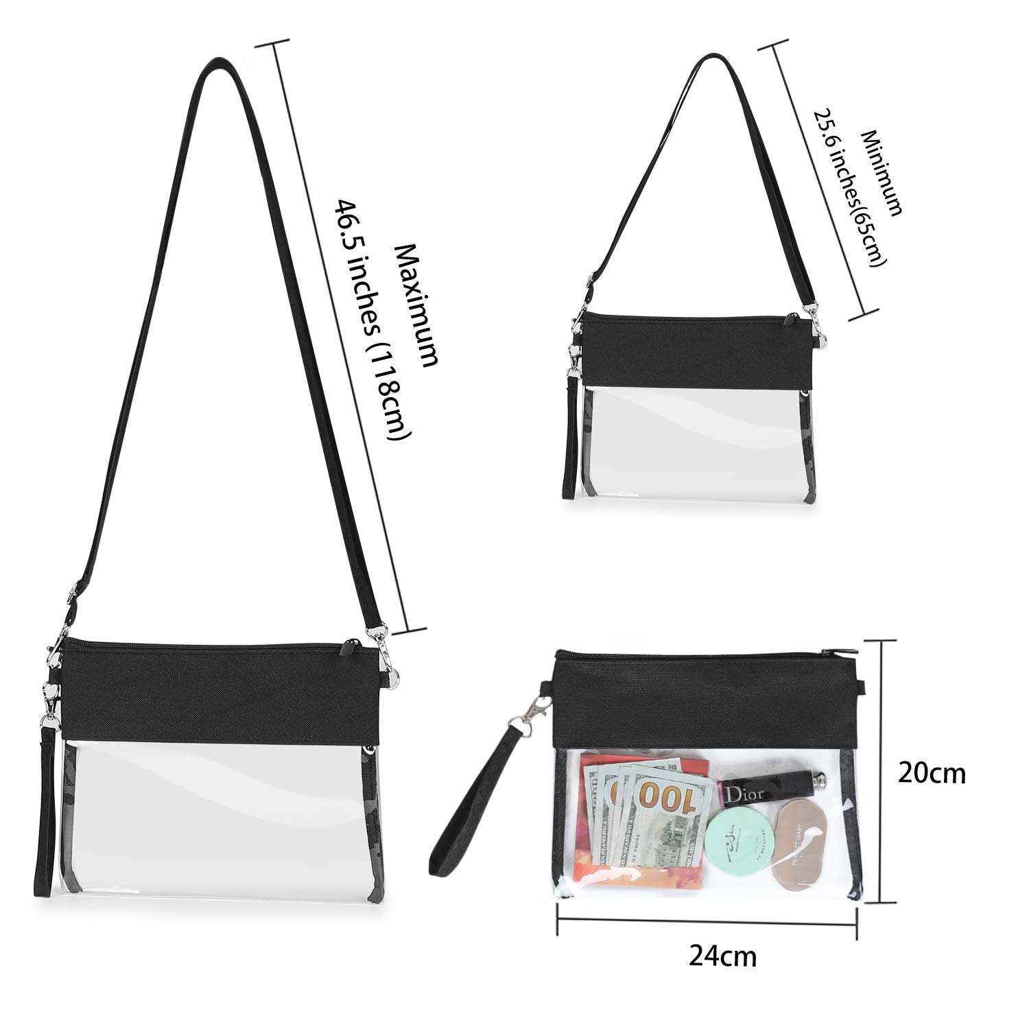2 Pack Small Clear bag Stadium Approved See Through Bag for PGA, NFL, NCAA