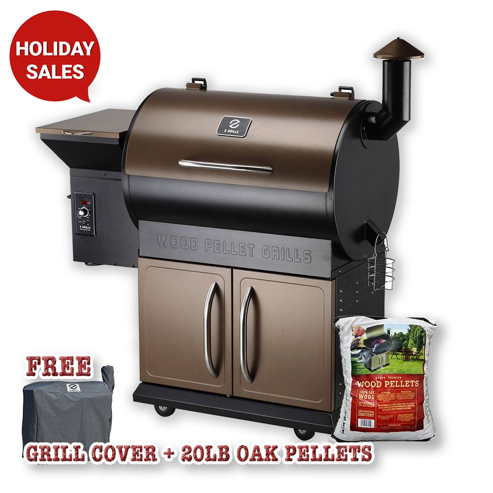 Z GRILLS ZPG-700D Wood Pellet Barbecue Grill and Smoker with Digital Temperature Controls, 700 Square Inch Cooking Area, Perfect Family Size Outdoor Backyard Grill