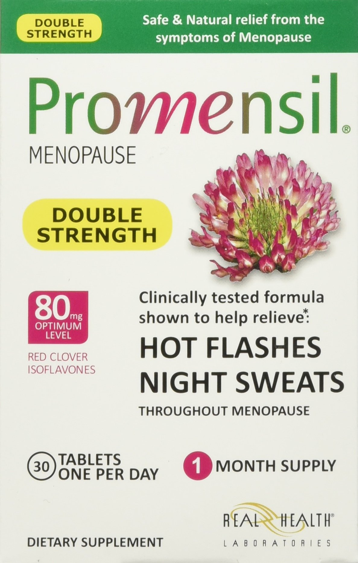 Promensil Menopause Double Strength Relief Hot Flashes Night Sweats Tablets, 30 Count