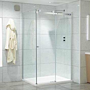 Único sin marco puerta corredera esquina ducha Carcasas: Amazon.es ...